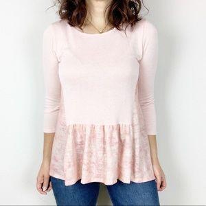 Altar'd State pink knit Cloud Nine Peplum top